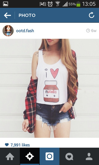 nutella t-shirt blouse top cute top i love it ? heart