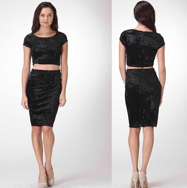 Dress dress set skirt set short sleeve pencil skirt shirt skirt velvet junior designer ...