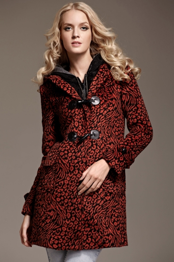 Classic Leopard Print Horn Button Coat with Hood [FEBK0555]- US$ 71.99 - PersunMall.com