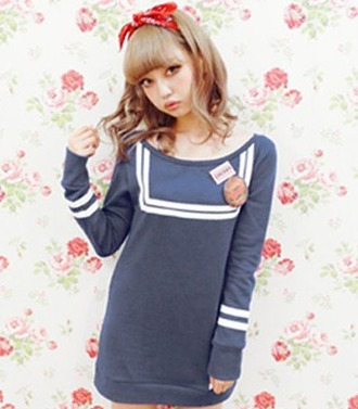 sweater blue top navy cute sailor white fall outfits winter outfits girly fashion style long sleeves
