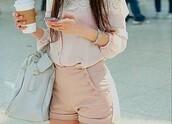 shorts,pink shirt,shirt,blue bag,bag,pink shorts,blouse,pink,clothes,pale pink short,fashion,High waisted shorts,lace shirt,exact,top,nude,peach