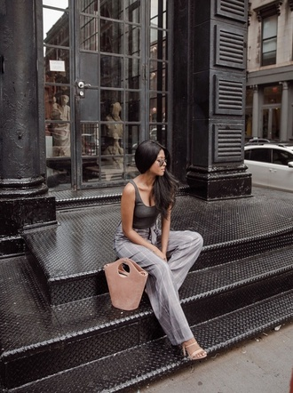 pants tumblr grey pants top tank top grey tank top bag handbag sandals sandal heels high heel sandals shoes