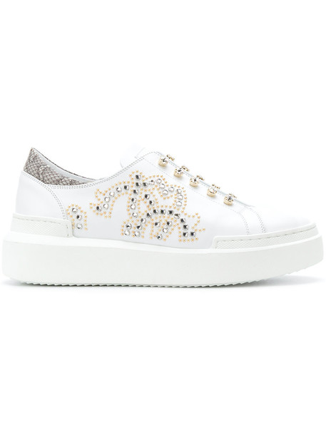 Roberto Cavalli women embellished sneakers leather white shoes