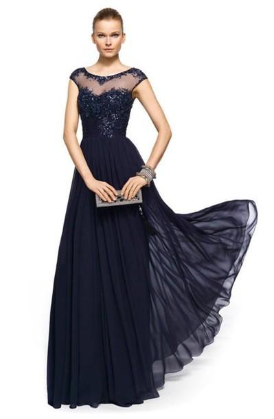 Long navy evening dress