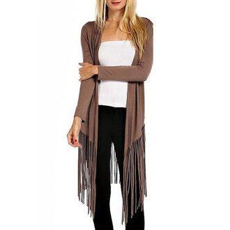 cardigan brown casual streetwear streetstyle fall outfits fall cardigan fringes fringed jacket white blavk black long sleeves