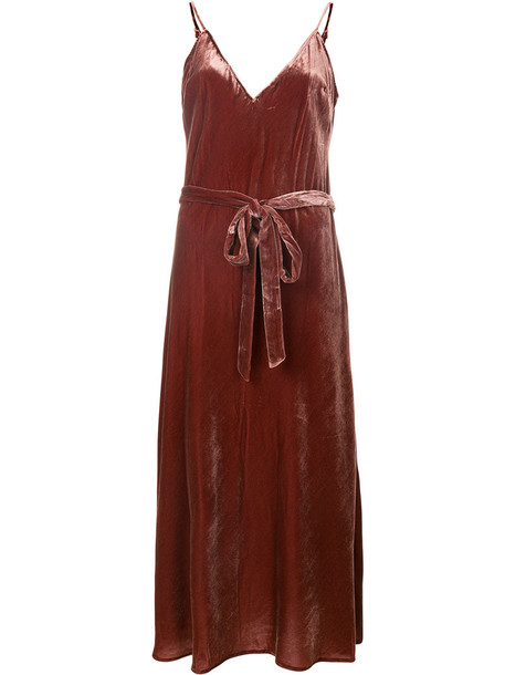 Frame Denim dress velvet dress women silk velvet brown