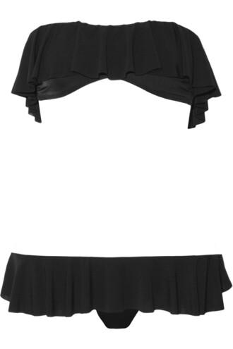 bikini bandeau bikini black swimwear