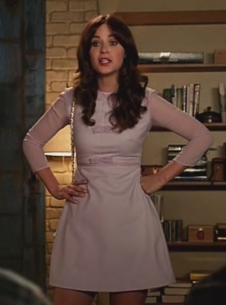 new girl zooey deschanel dress celebrity actress jess day jessica day lilac dress mini dress a line dress short dress mesh sleeve long sleeve dress