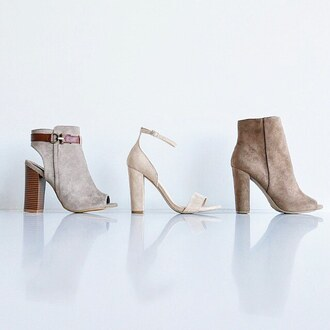shoes bootie heels boot boots booties celebrity style stacked heel chunky sole chunky heel ankle strap gojane