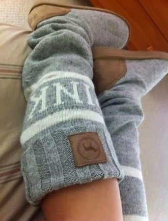shoes pink victoria's secret grey sweater boots cute winter outfits cozy