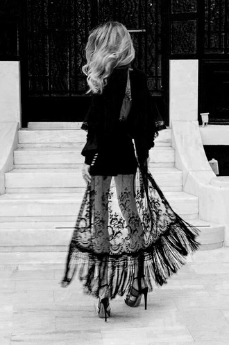 dress black lace maxi long black lace fringe