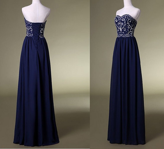 Navy bridesmaid dresses prom dresses embroidered beaded by mjdress