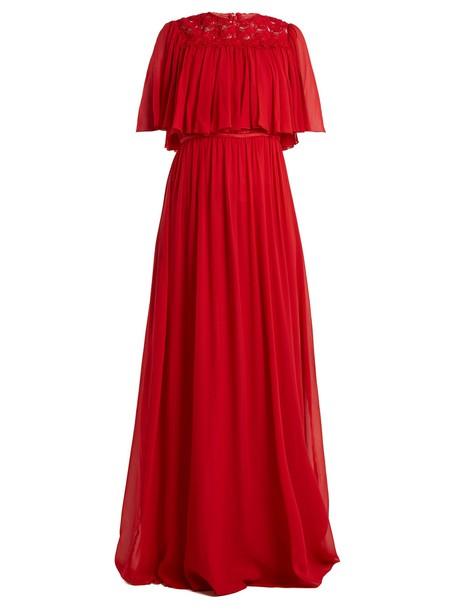 GIAMBATTISTA VALLI gown lace silk red dress