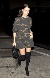 dress,oversized sweater,oversized,camouflage,bella hadid,over the knee boots
