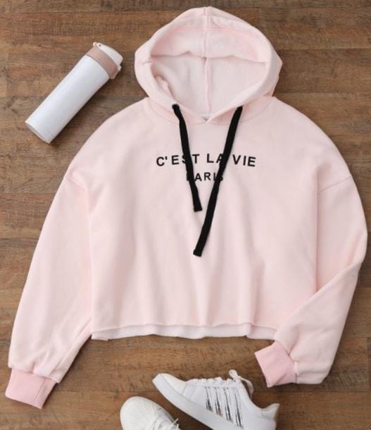 9513b338702cfa sweater, girly, pink, light pink, crop, cropped, hoodie - Wheretoget