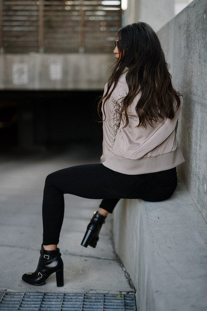 b5b460cfe3f6a jacket tumblr nude jacket bomber jacket jeans skinny jeans black jeans boots  shoes black boots high