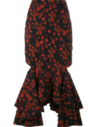 skirt peplum skirt red