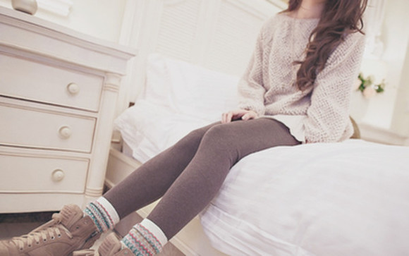 sweater comfortable oversized silky leggings knit sweater knit socks boots oversized sweater shoes pants underwear