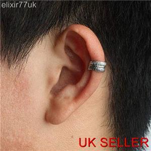 NEW SILVER CURVED LEAF EAR CUFF HELIX CARTILAGE CLIP-ON EARRING PUNK GOTHIC EMO | eBay