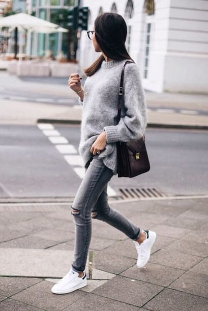 jeans aesthetic blogger sweater grey grey sweater adidas adidas shoes stan  smith glasses tumblr tumblr outfit bc6d50465