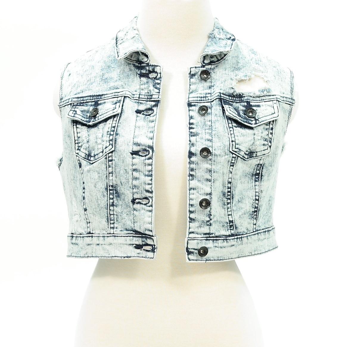 Distressed acid wash denim crop jean vest – pinkracks