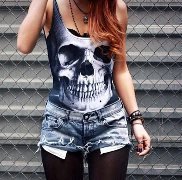 top bodysuit skull top black and white sylvi label skull bodysuit
