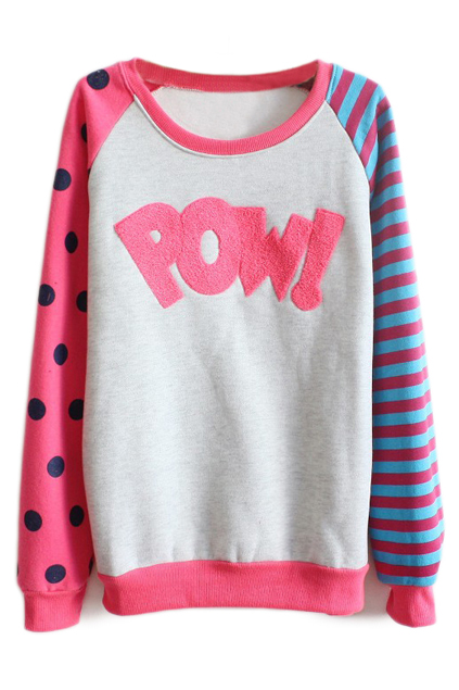 ROMWE | ROMWE Color Block POW! Appliqued Rose Sweatshirt, The Latest Street Fashion