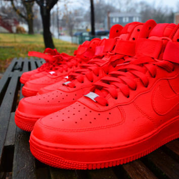 the latest 2facb 31c31 shoes, youth sizes, all red air force ones, all red, red, nike high tops,  nike, nike aire force, nike air force 1, high top sneakers, high top nikes,  ...