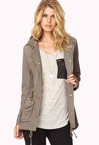 Longline drawstring utility jacket