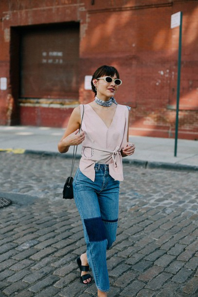natalie off duty blogger top jewels jeans scarf bag sunglasses