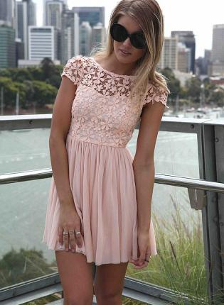 Pink Day Dress - Pink Embroidered Lace Top Dress | UsTrendy