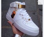 shoes,white shoes,nike air force 1 high top,nike air,nike air force 1,nike air force,forces,fashion,style,gold,white,sneakers,dope,trill,tumble pic,high top nikes,high top sneakers,india westbrooks,red,nike
