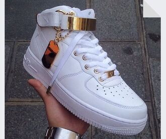 shoes white shoes nike air force 1 high top nike air nike air force 1 nike air force forces fashion style gold white sneakers dope trill tumble pic high top nikes high top sneakers india westbrooks red nike