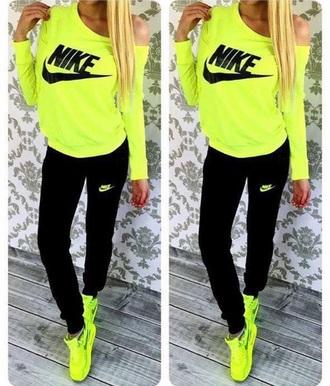 sweater neon nike shoes dress