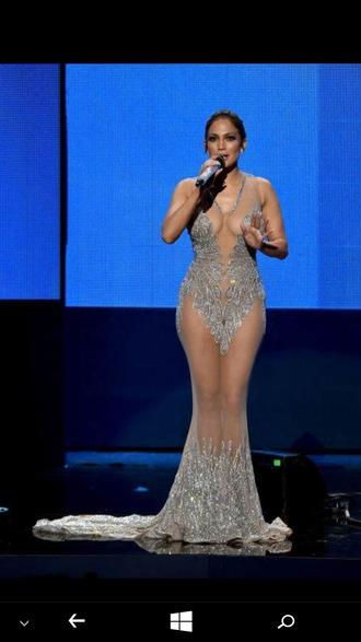 dress sparkly dress sheer transparent fabulous j-lo jennifer lopez american music awards cystals embroidered embellished embellished dress silver nude