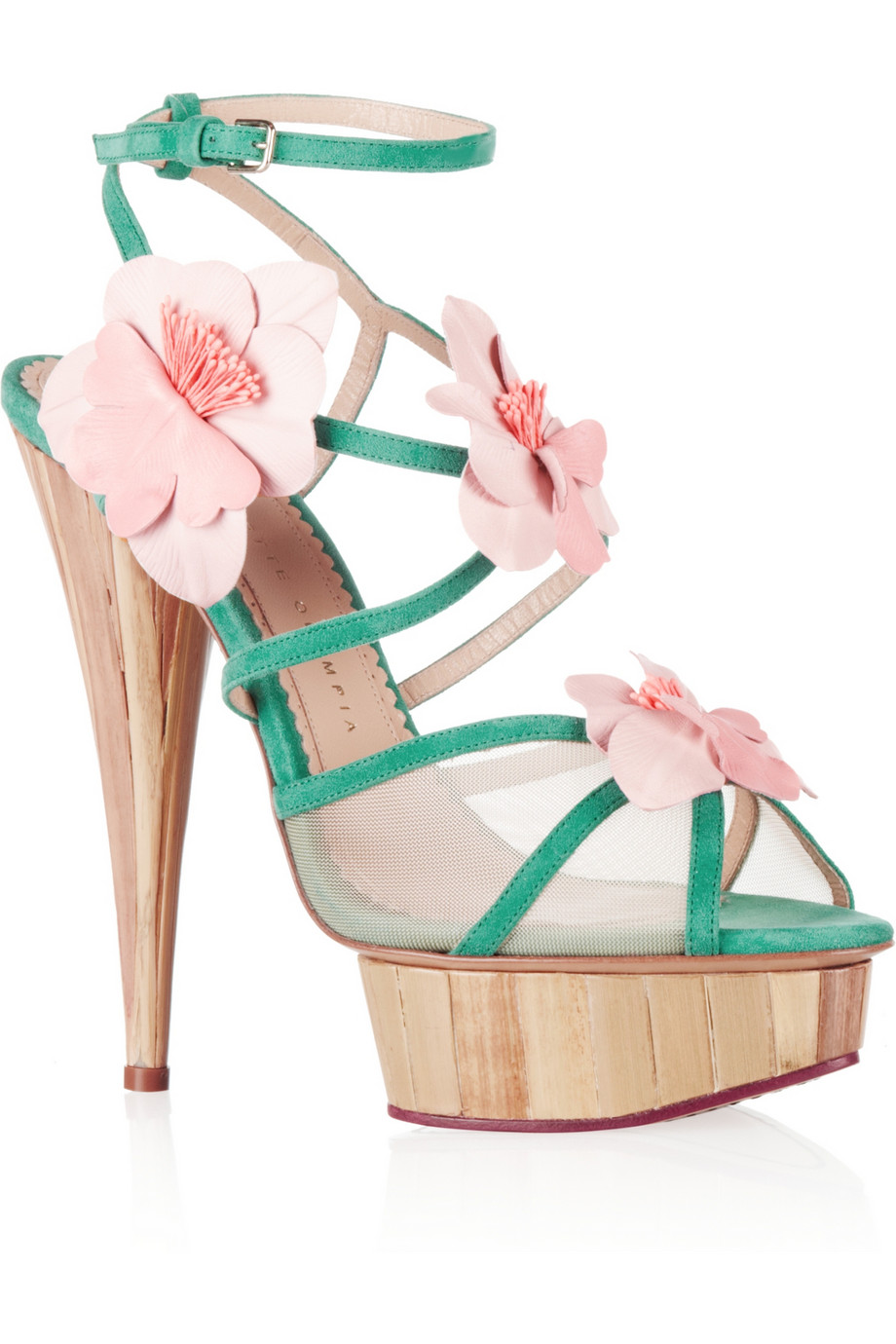 Botanica flower-embellished suede and mesh sandals | THE OUTNET