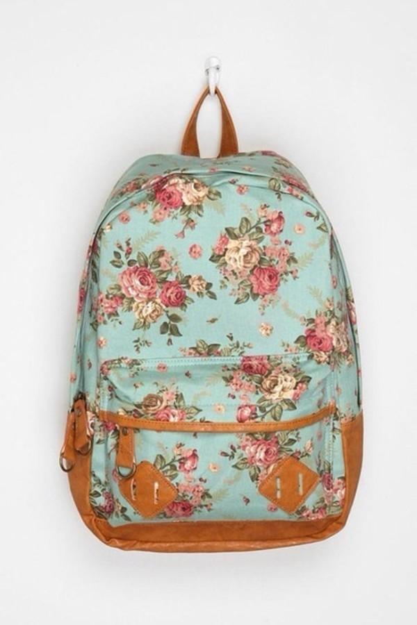 bag blue floral vintage bag