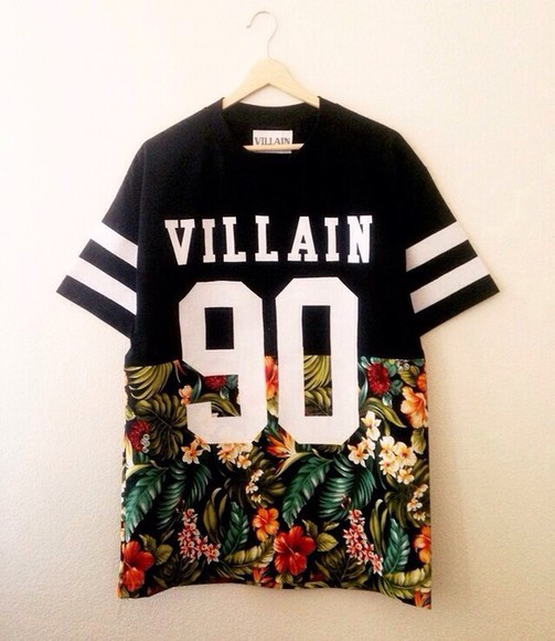 shirt floral kanye west rihanna justin bieber dope chris brown stripes villian jersey 90 t-shirt villain t-shirt, floral, black, white, number, baseballshirt, villain black kayne west vilain 90 flowers
