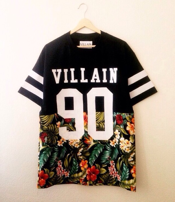 shirt villian floral jersey 90 mens t-shirt tropical t-shirt villain black number dope stripes kayne west vilain 90 flowers t-shirt basketball style floral t shirt
