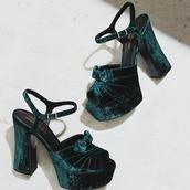 shoes,velvet sandals,velvet,velvet shoes,green shoes,sandals,sandal heels,high heel sandals,platform sandals