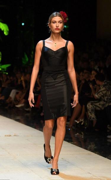 db4ec993c7c dress black dress dolce and gabbana milan fashion week 2016 hailey baldwin  bodycon dress