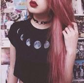 moon,jewels,heart,t-shirt,necklace,shirt,tights,black t-shirt,black,white,grung,grey,top,crop tee,pastel hair,lips,ring,grunge t-shirt,hair,black shirt,collar,grunge,grunge girl,goth,goth girl,tumblr,tumblr girl