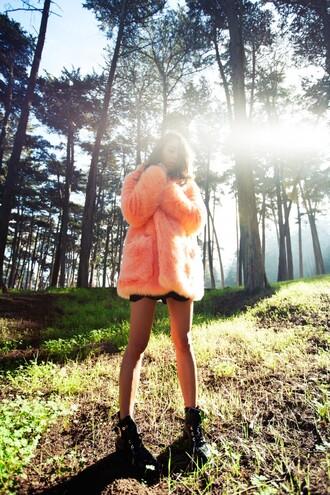 fashiontoast blogger shoes peach fur coat winter coat coat skirt