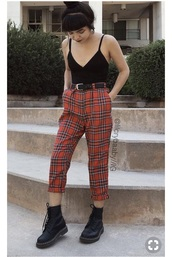 jeans,tartan,plaid,black,red,girl,pants,vintage,trousers: red,red pants