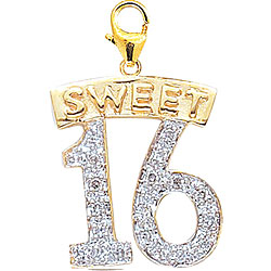 14k Gold 1/10ct TDW Diamond Sweet 16 Charm (H-I-J, I2) | Overstock.com Shopping - The Best Deals on Diamond Charms