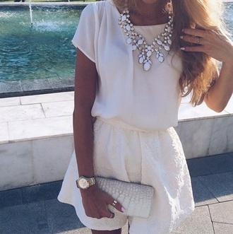jewels necklace jewerly top skirt style summer summer style jewerly necklace outfit dress