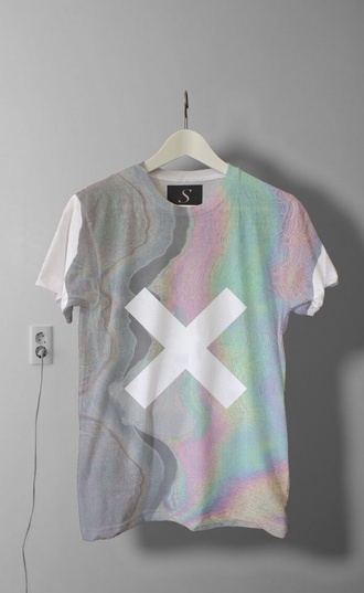 shirt grunge style fashion grunge wishlist the weeknd t-shirt thexx tumblr hipster tumbr tumblr outfit cute cats the xx indie brandy new band band merch band t-shirt artist retro rainbow oil spill pink green grey white plug ear plug pattern cool sprinh spring tumblr clothes spring outfits xx holographic holographic top acid trip grunge t-shirt white shirt