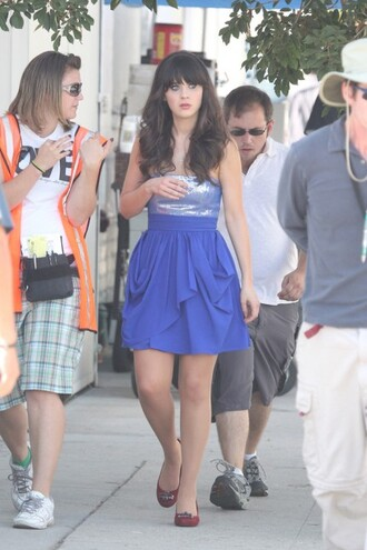 dress blue dress zooey deschanel