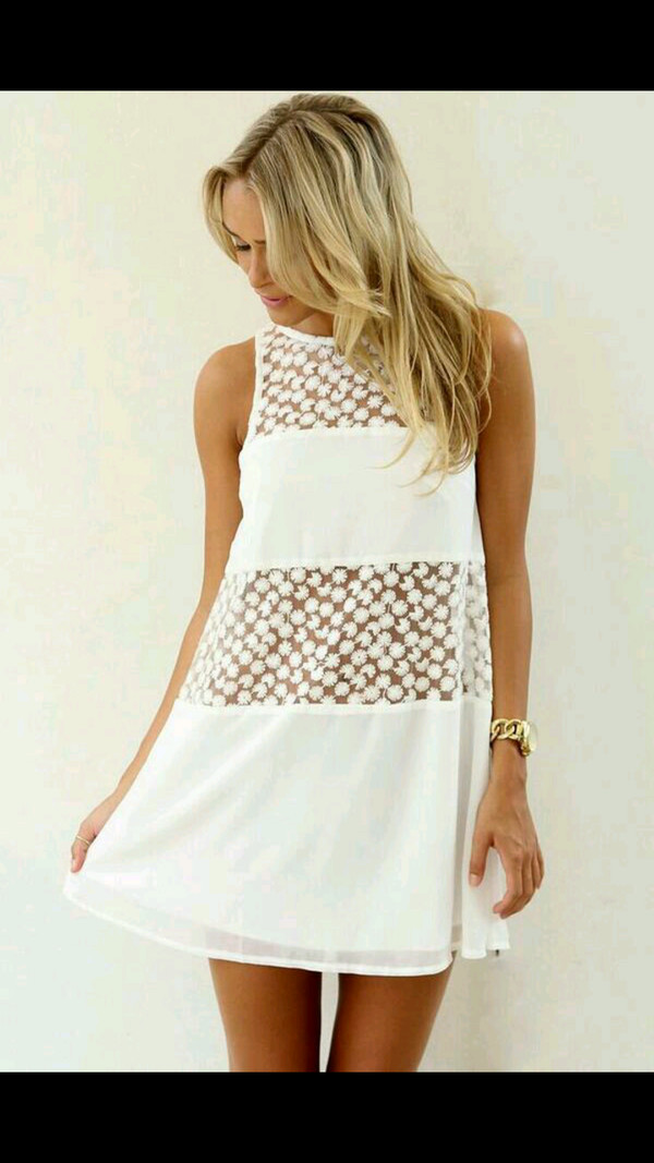 dress white mesh pattern panel cute flowy