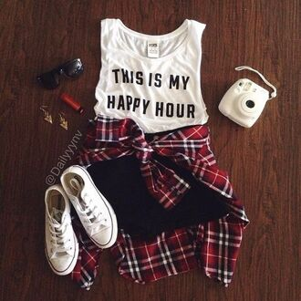 top fashion plaid shirt shorts